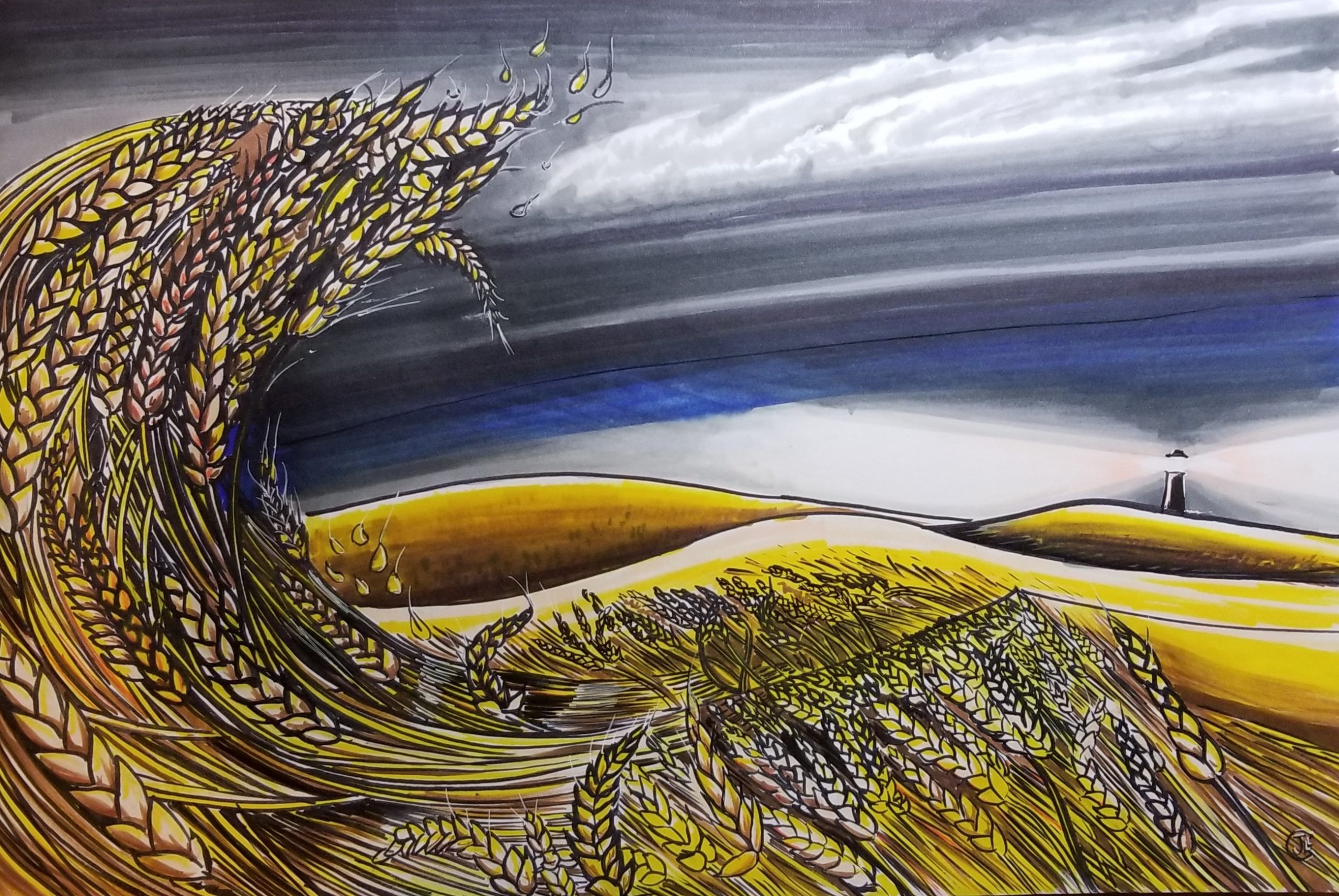 Waves Of Grain Illustration Pen and Ink